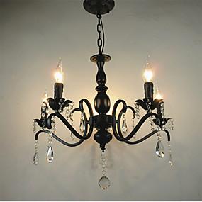 povoljno Lámpatestek-Luster za svijeće s 5 svjetiljki ambijentalno svijetli crni metal 110-120v / 220-240v / e12 / e14