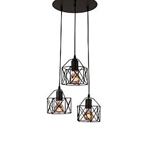 povoljno Lámpatestek-3-glava vintage crni metal kavez sjenilo privjesak svjetla dnevni boravak blagovaonica svjetlo učvršćenje