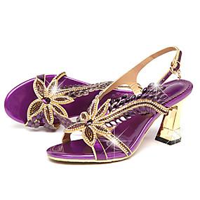 preiswerte Sapatos-Damen Sandalen Stöckelabsatz Peep Toe Strass / Schnalle Leder Komfort / Neuheit Walking Sommer / Herbst Gold / Purpur