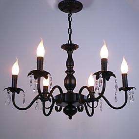 povoljno Lámpatestek-6-Light Lusteri Ambient Light Crn Metal Crystal, svijeća Style 110-120V / 220-240V / E12 / E14