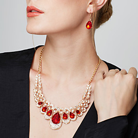 cheap Party Evening-Women's Synthetic Ruby Jewelry Set Drop Earrings Statement Necklace Pear Cut Drop Ladies Luxury European Fashion Elegant everyday Imitation Diamond Earrings Jewelry Blue / Rainbow / Champagne For