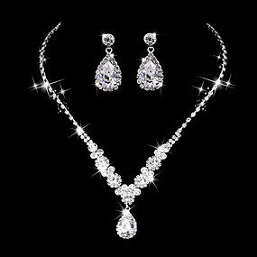 cheap Wedding & Party Jewelry-Women's AAA Cubic Zirconia Drop Earrings Choker Necklace Bridal Jewelry Sets Drop Luxury Elegant Vintage Cubic Zirconia Earrings Jewelry Silver For Wedding Anniversary Party Evening Ceremony
