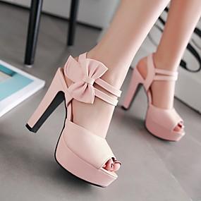 preiswerte Sapatos-Damen High Heels Blockabsatz Peep Toe Schleife PU Komfort Sommer Violett / Rosa / Mandelfarben / EU42