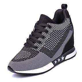 voordelige Damessneakers-Dames Sportschoenen Sleehak Ronde Teen Veters Tule Comfortabel Wandelen Lente / Herfst Paars / Donker Grijs / Licht Grijs / EU39