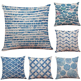 cheap Slipcovers-Set of 6 Linen Cotton / Linen Pillow Cover Pillow Case, Textured Traditional / Classic Bolster Beach Style Throw Pillow