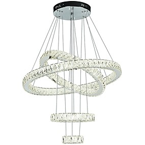 cheap Dimmable Ceiling Lights-4 Rings 80 cm Crystal Adjustable Dimmable Chandelier Metal Electroplated Chic & Modern 110-120V 220-240V