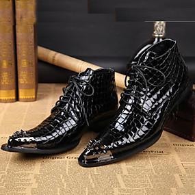 levne Větší obuv-Pánské Společenské boty Nappa Leather Podzim / Zima Vintage Boty Kotníčkové Černá / Party / Party / Kancelář a kariéra / Fashion Boots / Obuv military styl