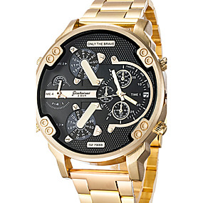 cheap Clearance-Men's Wrist Watch Oversized Stainless Steel Black / Gold Calendar / date / day Creative Dual Time Zones Analog Charm Luxury Classic Casual Bangle - Rose Gold Black / Silver Silver / Blue Two Years