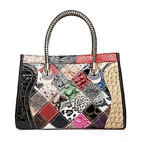 preiswerte Shoes & Bags Just For Your Beautiful-Damen Kombination Rindsleder Tragetasche Regenbogen