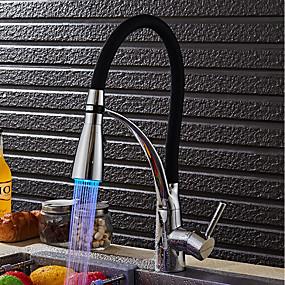 preiswerte Küchenarmaturen-Armatur für die Küche - Modern / Zeitgenössisch Chrom LED Licht / Pull-out / Pull-down Becken / Messing