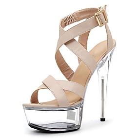 preiswerte Sandalen mit flachen Absätzen-Damen Sandalen Stöckelabsatz Peep Toe Kristall / Schnalle PU formale Schuhe Sommer Schwarz / Beige / Party & Festivität / Party & Festivität