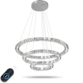 cheap Dimmable Ceiling Lights-3 Rings 70 cm Crystal Adjustable Dimmable Chandelier Metal Electroplated Chic & Modern 110-120V 220-240V