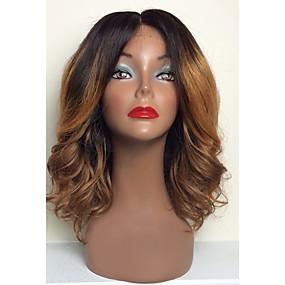ราคาถูก Ombre Lace Wigs-วิกผมจริง ลูกไม้ไม่มีกาว เต็มไปด้วยลูกไม้ วิก สไตล์ ผมบราซิล ลอนใหญ่ ลอนธรรมชาติ Ombre วิก 130% Hair Density ผมเด็ก ผม Ombre เส้นผมธรรมชาติ วิกผมแอฟริกันอเมริกัน 100% มือผูก สำหรับผู้หญิง Short