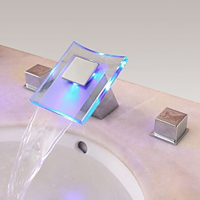 cheap LED Faucets Series-Bathroom Sink Faucet - Waterfall Chrome Widespread Two Handles Three HolesBath Taps / Brass
