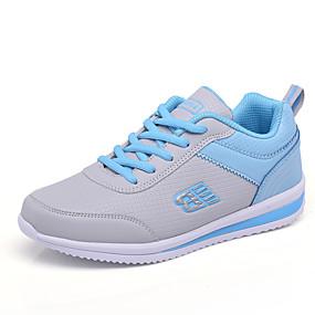 voordelige Damessneakers-Dames Sportschoenen Plateau Ronde Teen Veters Kunstleer Comfortabel Wandelen Lente / Herfst Zwart / Grijs / Blauw / EU39
