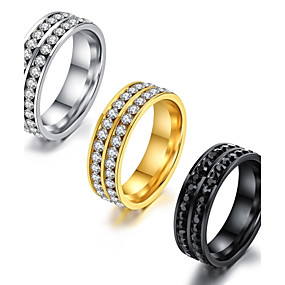 cheap Birthday Party-Men's Band Ring Eternity Band Ring Groove Rings AAA Cubic Zirconia Gold White Black Titanium Steel Circle Classic Vintage Basic Party Birthday Jewelry