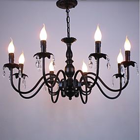 povoljno Lámpatestek-8-Light Lusteri Ambient Light Crn Metal Crystal, svijeća Style 110-120V / 220-240V / E12 / E14