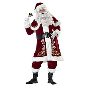 preiswerte Party2019Christmas-Santa Anzüge Weihnachtsmann Kostüm Outfit Erwachsene Herrn Weihnachten Silvester Maskerade Fest / Feiertage Terylen Elastan Rot Karneval Kostüme Vintage