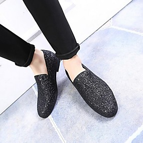 cheap Shoes & Bags-Men's Moccasin Glitter Summer / Fall British Loafers & Slip-Ons Black / Gold / Silver / Sparkling Glitter / Wedding / Party & Evening / Wedding / Party & Evening