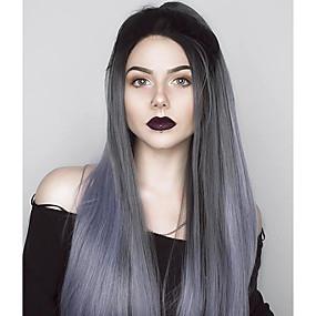 preiswerte Uniwigs®-Synthetische Lace Front Perücken Glatt Gerade Spitzenfront Perücke Lang Grau Synthetische Haare Damen Gefärbte Haarspitzen (Ombré Hair) Grau Uniwigs