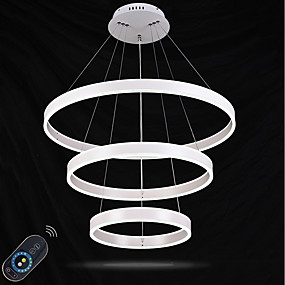 cheap Dimmable Ceiling Lights-1-Light Geometric Pendant Light Ambient Light Painted Finishes Metal Acrylic Crystal, Adjustable, Dimmable 110-120V / 220-240V Dimmable With Remote Control LED Light Source Included / LED Integrated