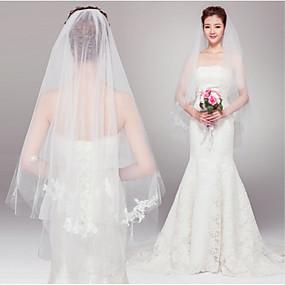 preiswerte U-SWEAR®-Zweischichtig Schnittkante Hochzeitsschleier Gesichts Schleier / Ellbogenlange Schleier mit Perle Tüll / Engelschnitt / Wasserfall