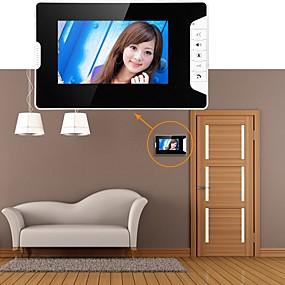 preiswerte Schutz & Sicherheit-Mountainone 7-Zoll-Video-Türsprechanlage Türklingel Intercom System Kit 1-Kamera 3-Monitore Nachtsicht