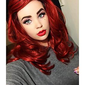 preiswerte Uniwigs®-Synthetische Lace Front Perücken Natürlich gewellt Natürlich gewellt Stufenhaarschnitt Spitzenfront Perücke Mittlerer Länge Rot Synthetische Haare Damen Rot Uniwigs