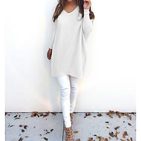 preiswerte Damenbekleidung-Damen Alltag Solide Langarm Lose Lang Pullover Pullover Jumper, V-Ausschnitt Herbst / Winter Schwarz / Weiß / Rosa S / M / L