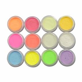 저렴한 네일 글리터-12pcs/set 12 개 반짝이는 가루 12 가지 색상 엘레강트&럭셔리 스파클 & 샤인 Fluorescent 아크릴 파우더 글리터 용