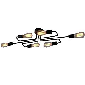 povoljno Lámpatestek-BriLight 6-Light Flush Svjetla Ambient Light Crn Metal Produžen, dizajneri 110-120V / 220-240V / E26 / E27