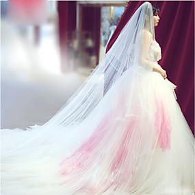 preiswerte U-SWEAR®-Zweischichtig Schnittkante Hochzeitsschleier Gesichts Schleier / Ellbogenlange Schleier / Kathedralen Schleier mit Rüschen Tüll / Engelschnitt / Wasserfall