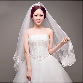 preiswerte U-SWEAR®-Zweischichtig Spitzen-Saum Hochzeitsschleier Gesichts Schleier / Fingerspitzenlange Schleier mit Applikationen / Glitter Tüll / Oval