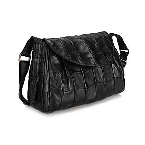 preiswerte MELOVO®-Damen Taschen Schaffell Schultertasche Knöpfe / Reißverschluss Schwarz