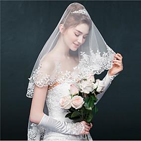 preiswerte U-SWEAR®-Einschichtig Spitzen-Saum Hochzeitsschleier Gesichts Schleier / Ellbogenlange Schleier mit Applikationen / Glitter Tüll / Oval
