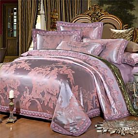 preiswerte Schonbezüge-Bettbezug-Sets Luxus Seide / Baumwollmischung reaktiven Druck 4 Stück Bettwäsche-Sets / 400 / 4pcs (1 Bettbezug, 1 flaches Blatt, 2 Shams) König