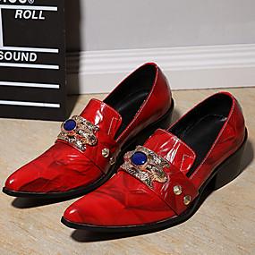 levne Větší obuv-Pánské Společenské boty Nappa Leather Podzim / Zima Nokasíny Červená / Party / Party