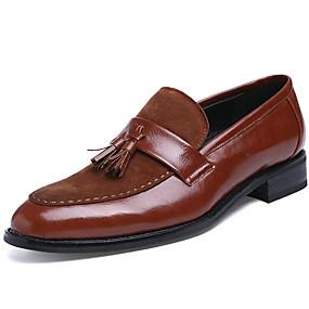levne Větší obuv-Pánské Obuv Syntetika Podzim Zima Společenské boty Nokasíny Šněrování pro Ležérní Party Černá Hnědá