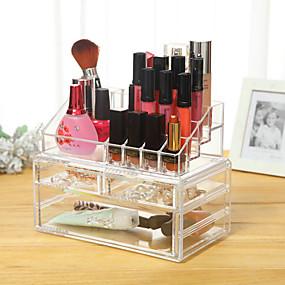 preiswerte Kosmetik-Boxen, Taschen & Töpfe-Make-up Utensilien Kosmetikaufbewahrung Bilden Kunststoff Quadratisch Alltag Kosmetikum Pflegezubehör