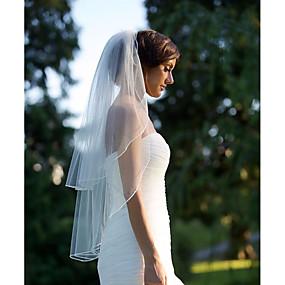 preiswerte U-SWEAR®-Zweischichtig Gebündelter Rand Hochzeitsschleier Gesichts Schleier / Fingerspitzenlange Schleier mit Gerafft Tüll / Engelschnitt / Wasserfall