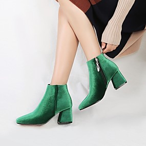 cheap Fashion Boots-Women's Boots Velvet Boots Chunky Heel Square Toe Zipper Velvet Booties / Ankle Boots Comfort / Fashion Boots Spring / Fall Green / Wine / Almond / Wedding / Party & Evening / EU42
