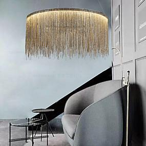 baratos Lustres-1-light 50 cm led designers lustre ouro luxo pingente leve metal tambor cromado moderno contemporâneo 110-120v 220-240v