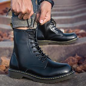 levne Větší obuv-Pánské Obuv military styl Kůže Podzim / Zima Minimalismus Boty Černá / Hnědá / Červená / Nýty / EU40