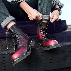 cheap Shoes & Bags-Men's Combat Boots Leather Fall / Winter Minimalism Boots Black / Brown / Red / Rivet / EU40