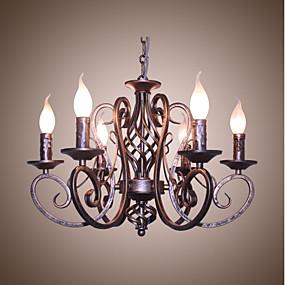 billige Lamper og belysning-6-Light 53 cm Stearinlys Stil Lysekroner Metall Malte Finishes Antikk / Retro Rød 110-120V / 220-240V