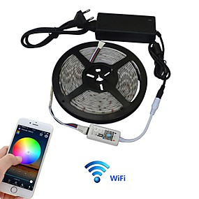 cheap WiFi Control-5m Light Sets LED Light Strips Flexible Tiktok Lights 300 LEDs 5050 SMD 1 set Multi Color APP Control 100-240 V