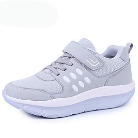 levne Větší obuv-Unisex Atletické boty Platforma Oblá špička Šněrování Tyl Pohodlné Běh Jaro / Podzim Burgundská fialová / Modrá / Šedá / EU37