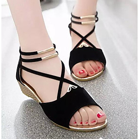 preiswerte Sapatos-Damen Sandalen Keilabsatz Nubukleder / Wildleder Komfort Frühling / Sommer Beige / Rot / Blau / EU39