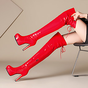 cheap Sexy Boots-Women's Boots Over-The-Knee Boots Round Toe Sequin / Zipper / Lace-up Patent Leather / Microfiber Over The Knee Boots Fashion Boots Fall / Winter Black / Red / Party & Evening