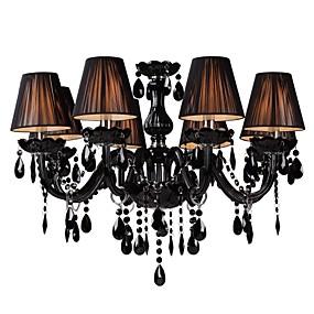 povoljno Lámpatestek-LWD 8-Light Lusteri Downlight Crn Glass Fabric Crystal, Prilagodljiv, svijeća Style 110-120V / 220-240V